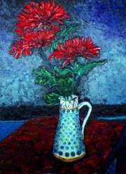 Richard Meyer, Chrysanthemums in a tall jug
