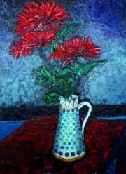 Richard Meyer, Chrysanthemums in a tall jug