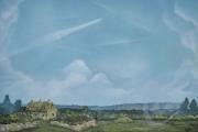 Robin Lewis - Contrails over a Devon cottage