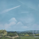 Robin Lewis - Contrails over a Devon cottage
