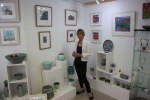 Jill Rousseau in her gallery in Bideford, North Devon