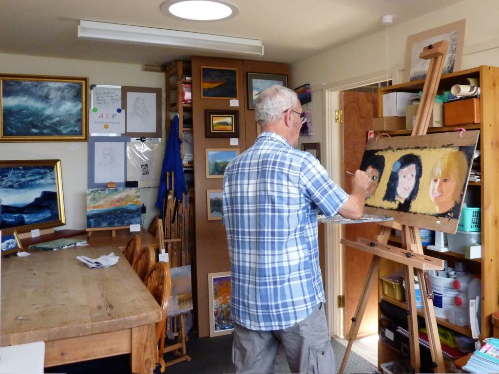 David Yeadle, painting in his studio